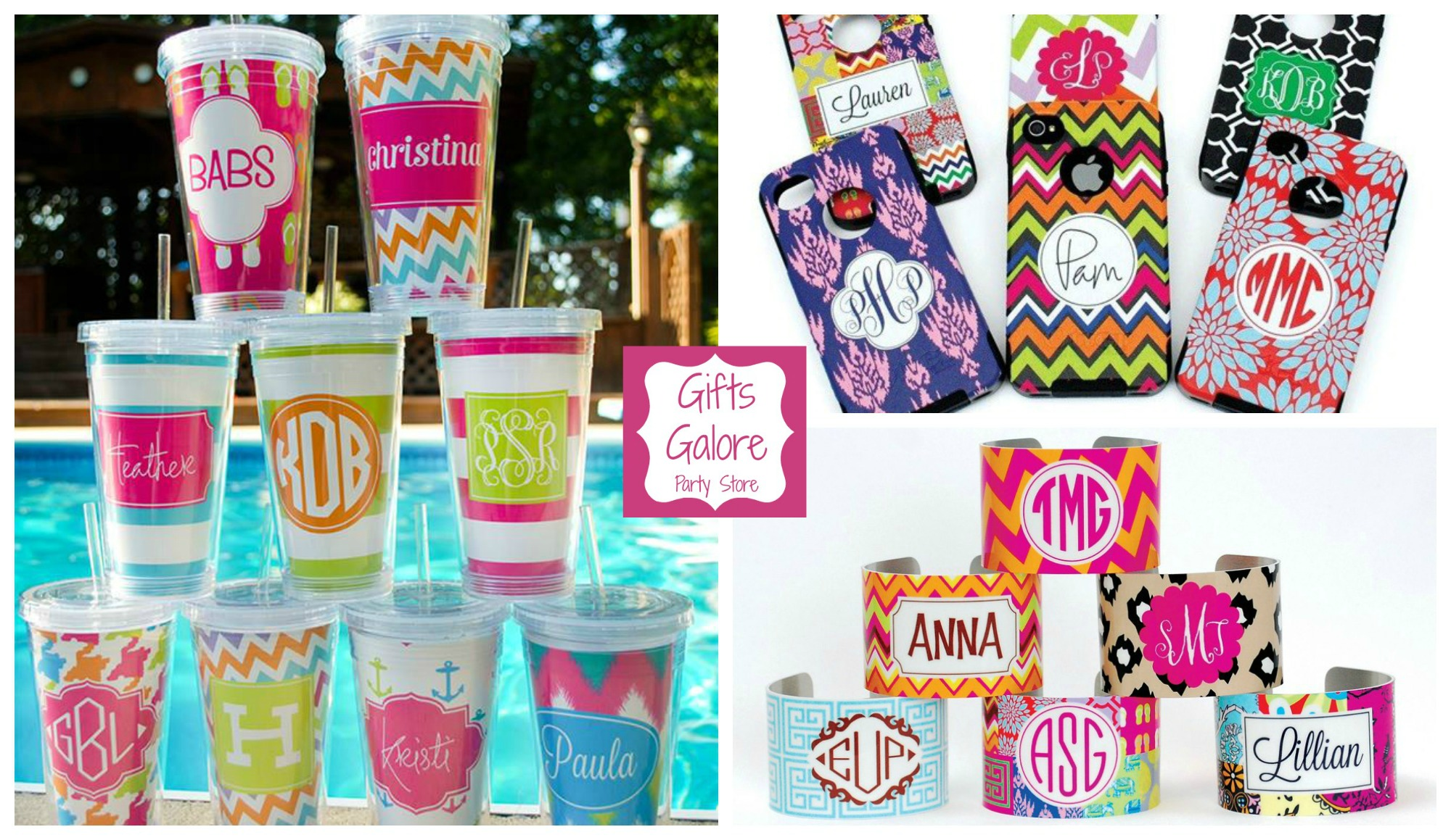 Gifts Galore Party Story has personalized accessories in trendy patterns, custom party supplies, and perfect gifts for your bridesmaids, sorority sisters and best friends.